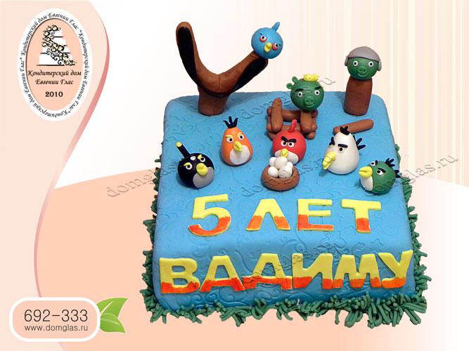 торт детский злые птички angry birds рогатка
