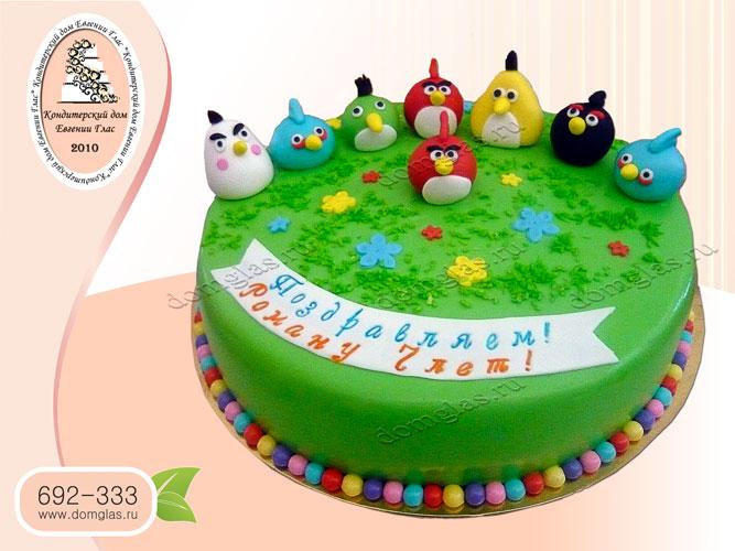 торт детский злые птички angry birds поляна