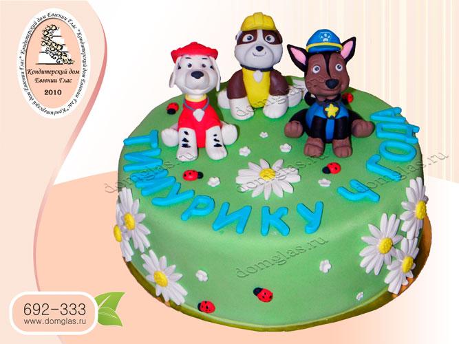 торт детский щенячий патруль крепыш роки гонщик