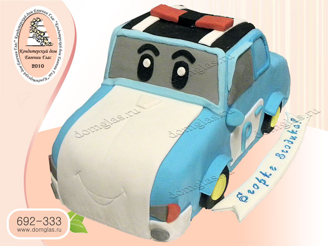 торт детский машина поли робокар