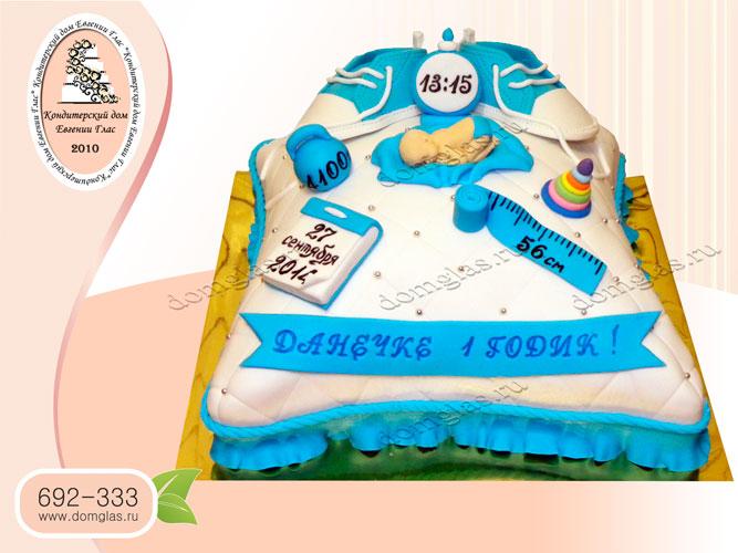 торт детский тапочки, сантиметр, игрушки голубой