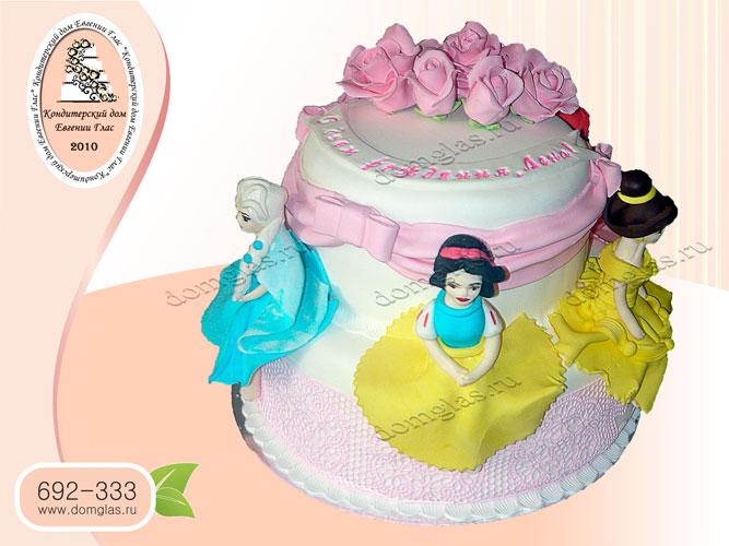 торт детский двухъярусный принцессы фигурки цветы