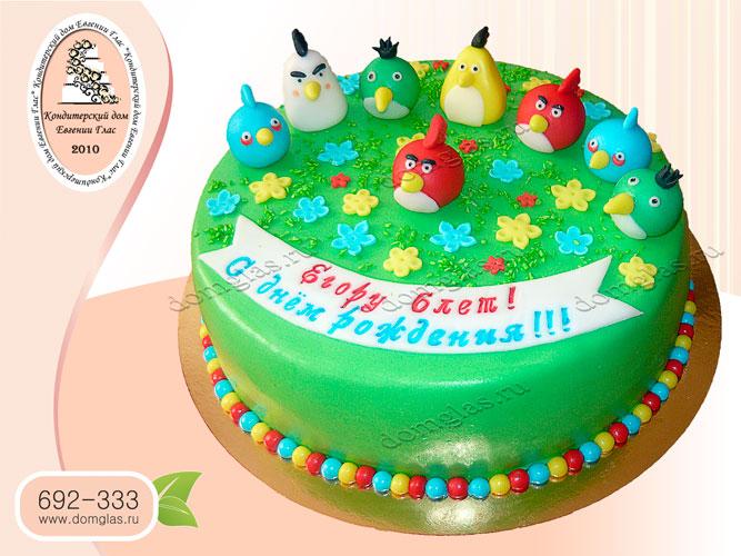 торт детский энгри бедс поляна птички
