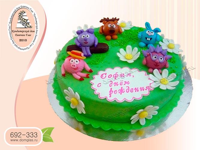 торт детский смешарики на поляне крош нюша ежик