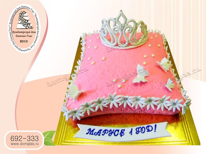 торт детский девочке корона бабочки цветы