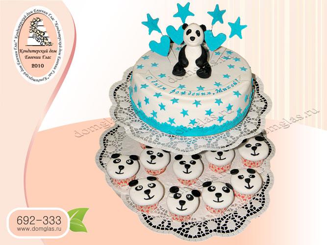 торт детский мальчику панда звезды капкейки панды