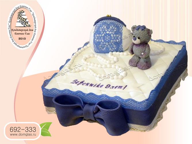 торт детский сумочка мишка бусы