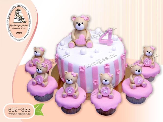 торт детский девочке мишки капкейки