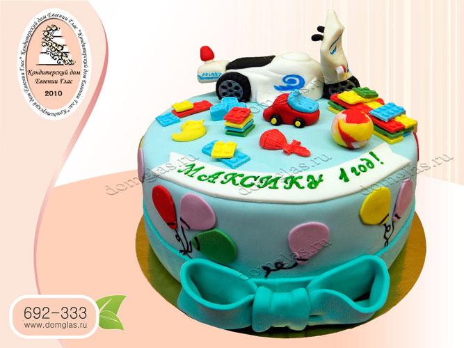 торт детский машинка игрушки шарики