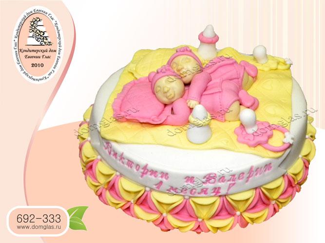 торт детский малышки близняшки бутылочка