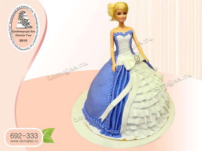 торт детский кукла барби синее платье