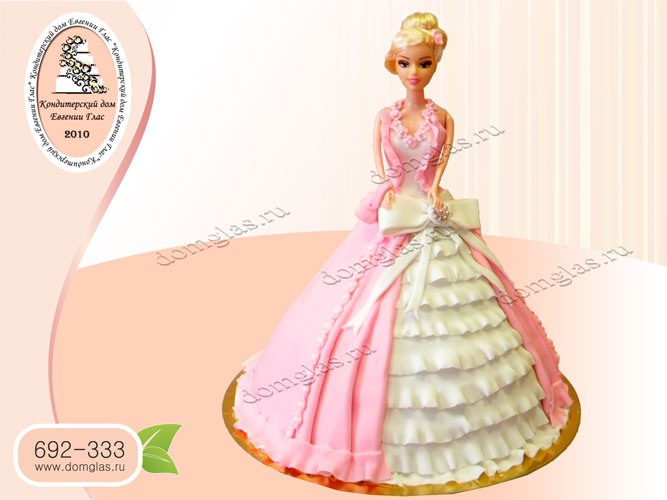 торт детский кукла барби розовое платье