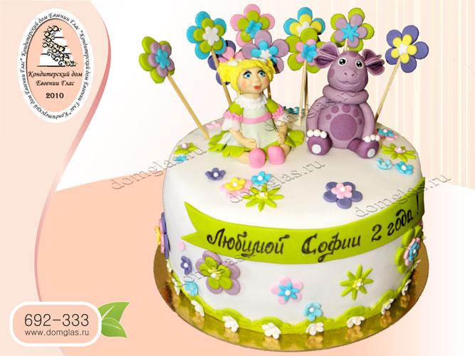 торт детский кукла лунтик цветы сердечки