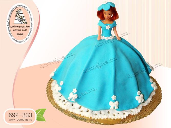 торт детский кукла барби голубое платье шляпка