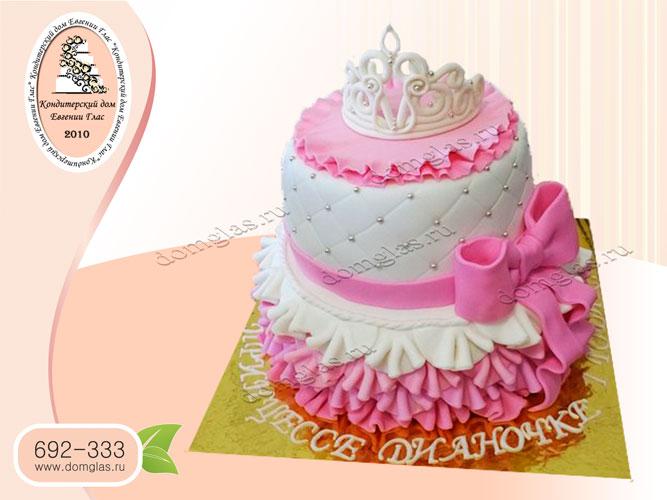 торт детский двухъярусный корона бант