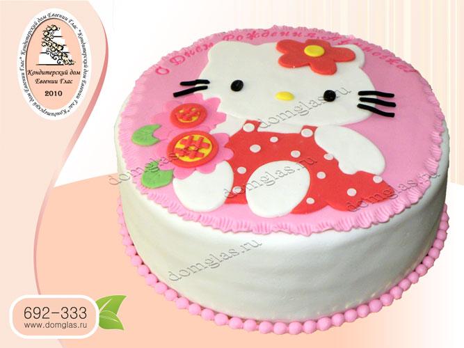 торт детский хелоу китти платье цветы