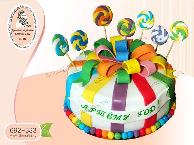 торт детский год бант конфеты разноцветный