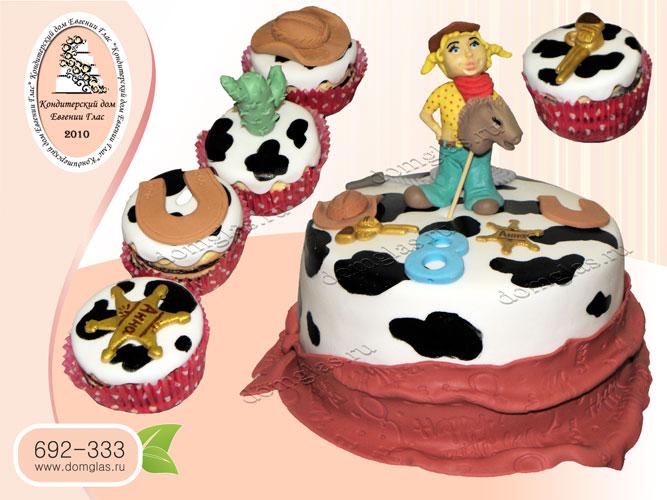 торт детский ковбойка конь капкейки