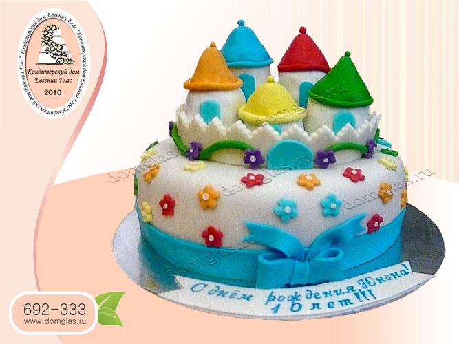 торт детский домики цветочки