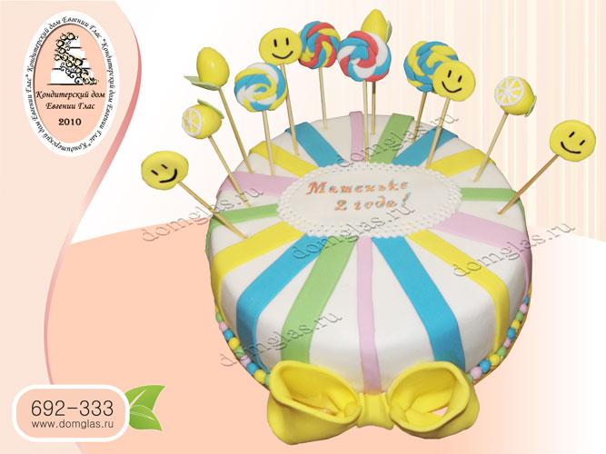 торт детский смайлы конфеты лимоны