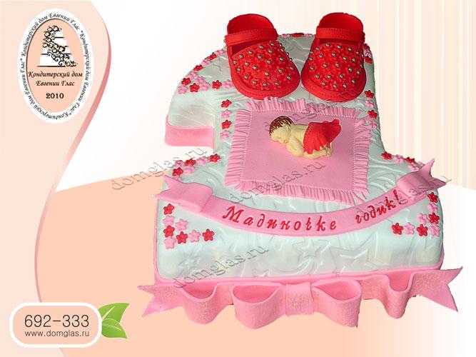 торт детский годик младенец тапочки девочке