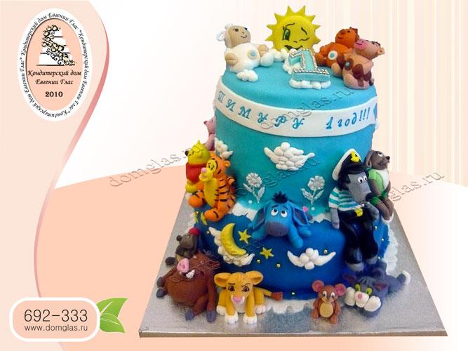 торт детский двухъярусный герои мультфильмов