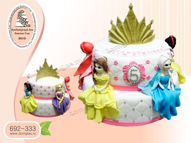 торт детский двухъярусный с принцессами диснея