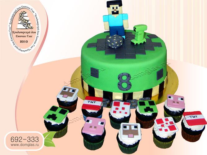 торт детский майнкрафт капкейки