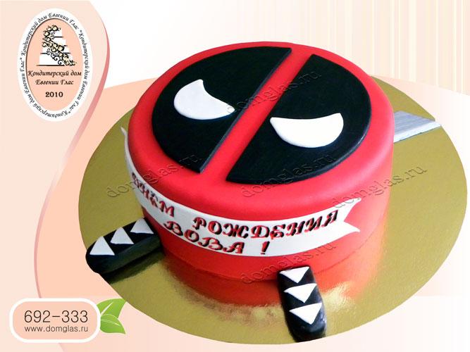 торт детский супергерой маска дэдпул