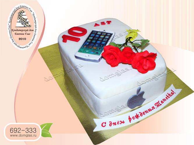 торт детский айфон цветы розы