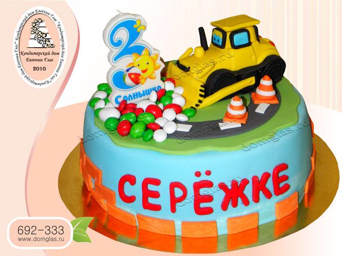 торт детский бульдозер