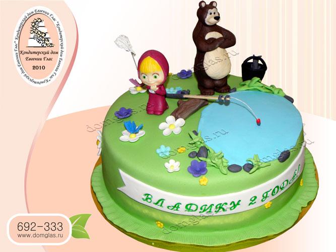 торт детский маша и медведь рыбалка