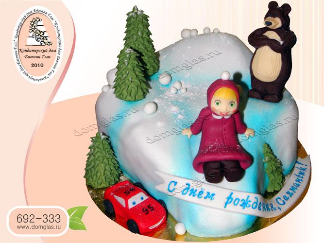 торт детский маша и медведь тачка молния маквин