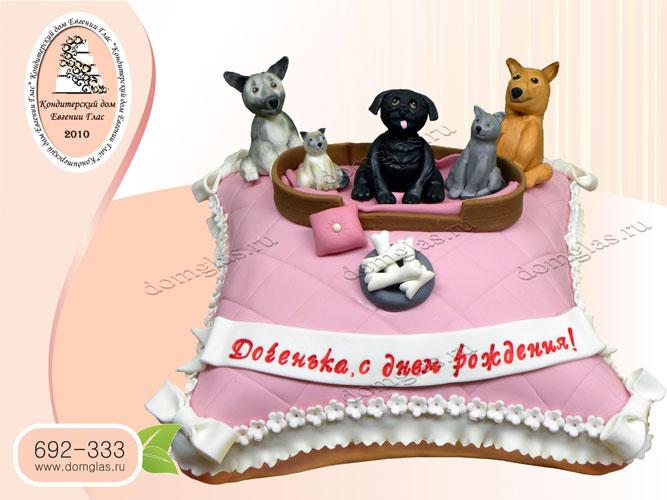 торт детский собачки на подушке