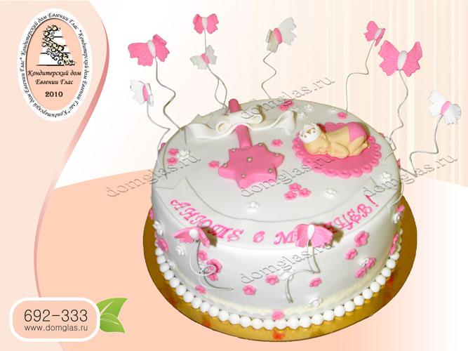 торт детский новорожденная в короне погремушка