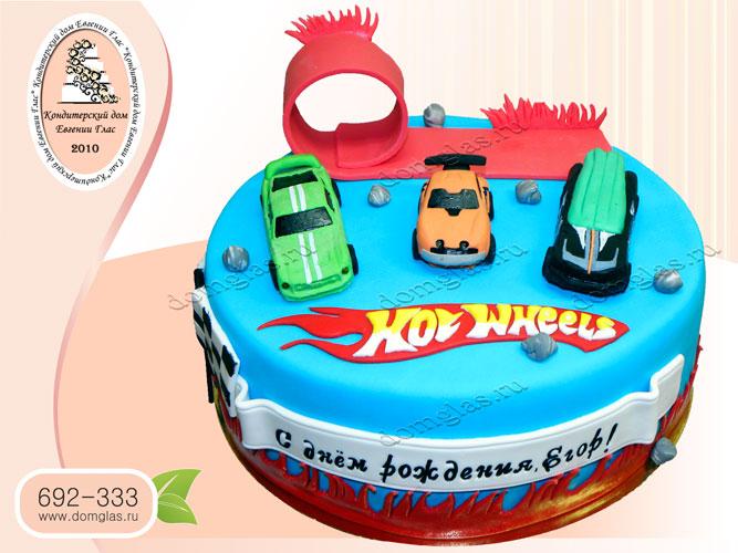 торт детский хот вилс машинки