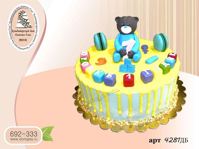 дб торт детский мишка кубики желтая глазурь