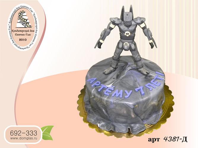 д торт детский робот серый
