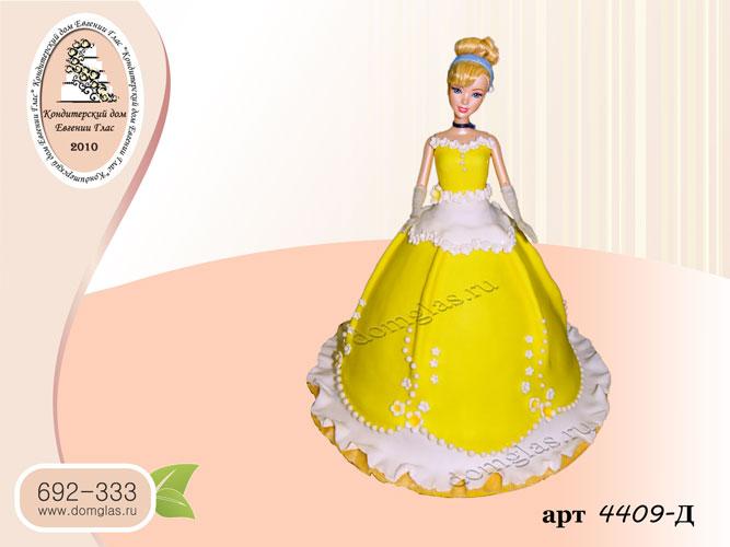 д детский торт кукла барби желтое платье