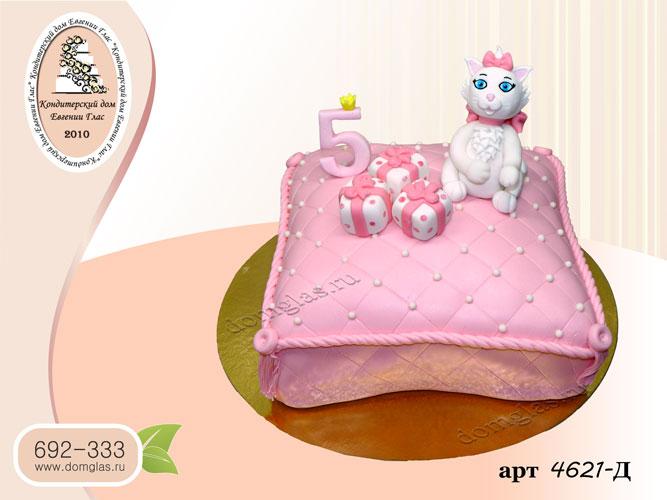 д торт розовый кошечка с бантами подарки
