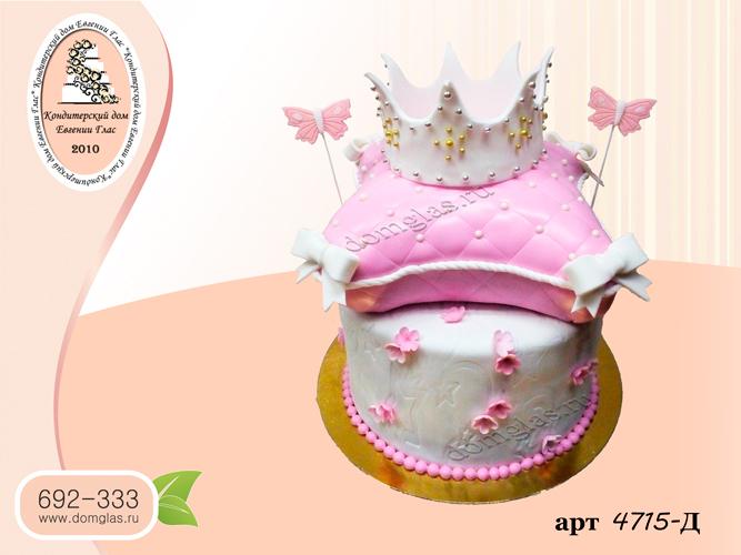д торт два яруса на торте подушка с короной