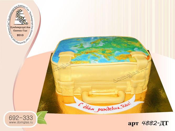дт фото торт чемодан карта мира