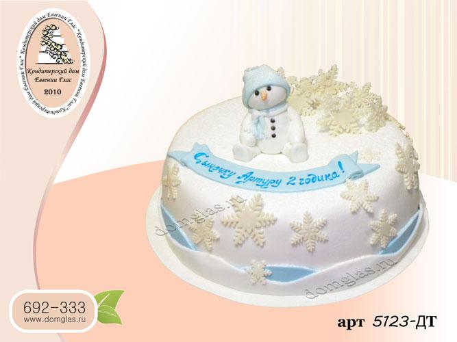 дт торт новогодний снеговик снежинки