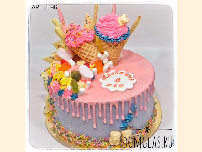 """детский для девочки """"мороженое""""-рожок на торте"""