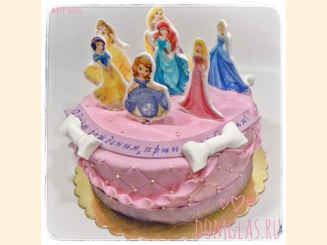 детский все героини Дисней на торте