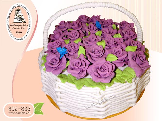 торт женский розы корзина бабочки