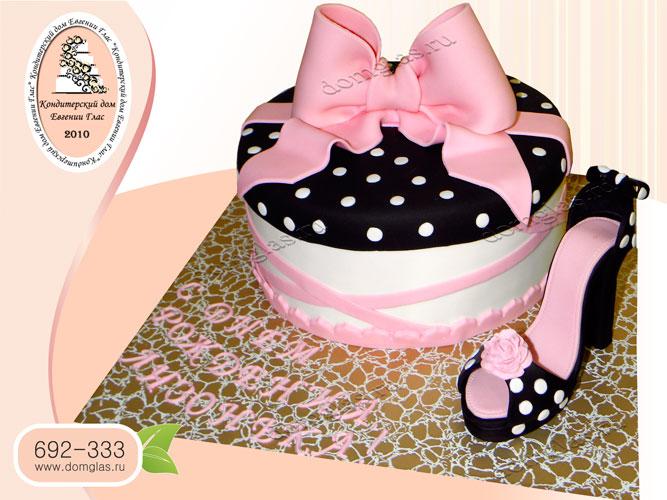торт женский бант туфля
