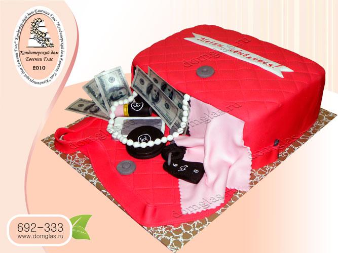 торт женский сумка красная деньги бусы