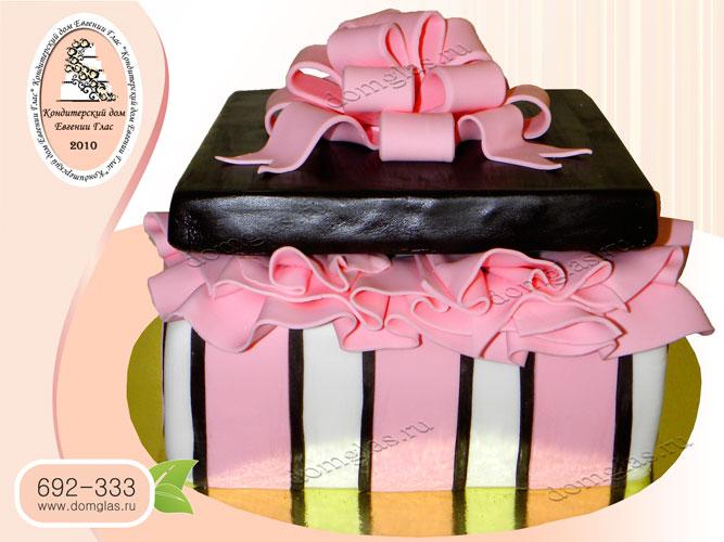 торт женский коробка бант