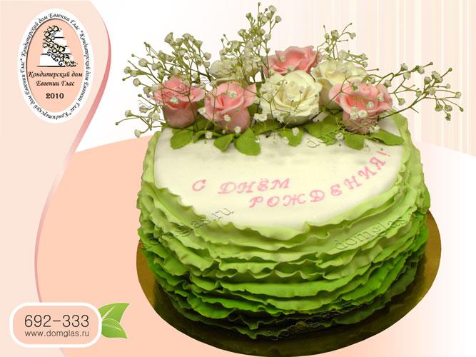 торт женский белый зеленый розы цветы